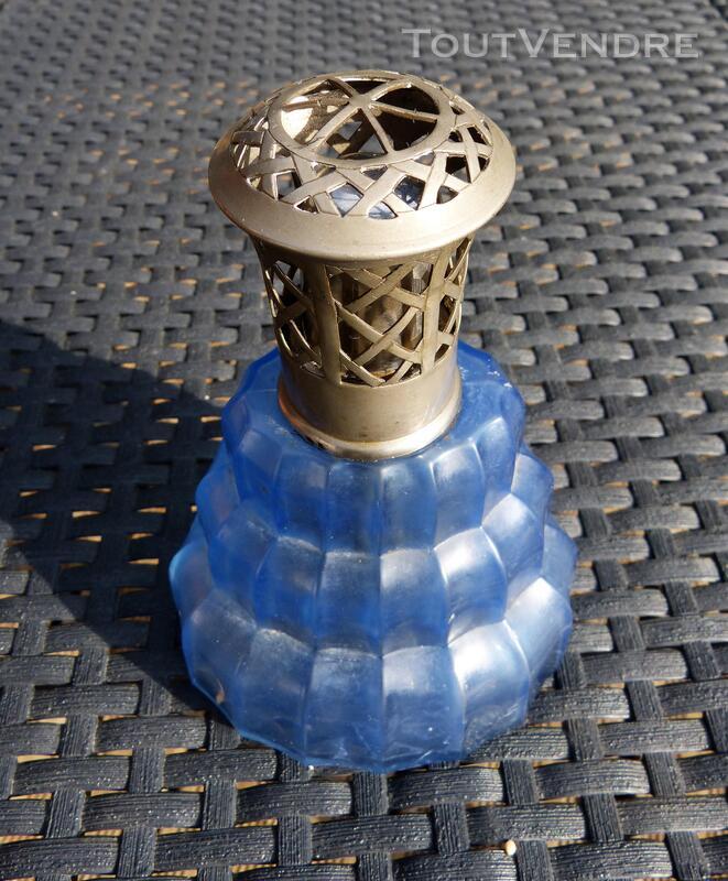 Lampe type Berger Complète en verre bleu style Art Déco 297053701