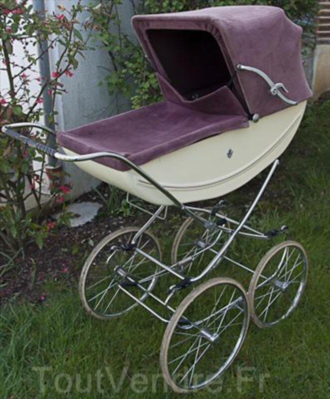 Landau ancien - berceau bébé - couffin fleur de lys 71308089