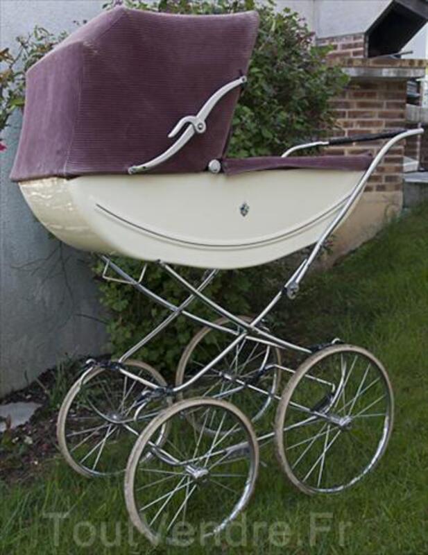 Landau ancien - berceau bébé - couffin fleur de lys 71308090
