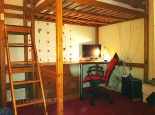 Lit mezzanine 2 personnes en pin massif vernis miel