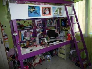 Lit mezzanine 90cm+bureau+matelas+chaise+parure de drap