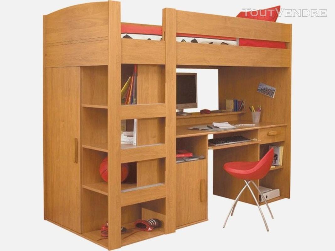 Lit Mezzanine enfant, combiné bureau, penderie 117601133