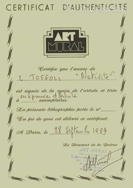 LITHOGRAPHIE ORIGINALE DE TOFFOLI ( épreuve d'artiste) 623091437
