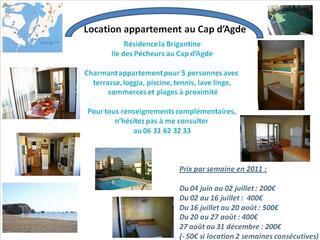 Location appartement Cap d'Agde pour 4-5 personnes