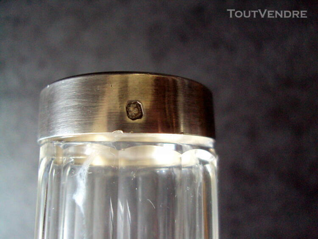 Long flacon cristal bouchon argent minerve 660968100