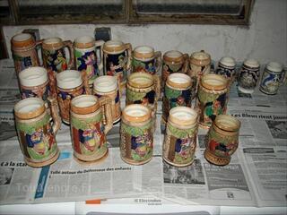 Lot 18 chopes a bieres en gres de collection