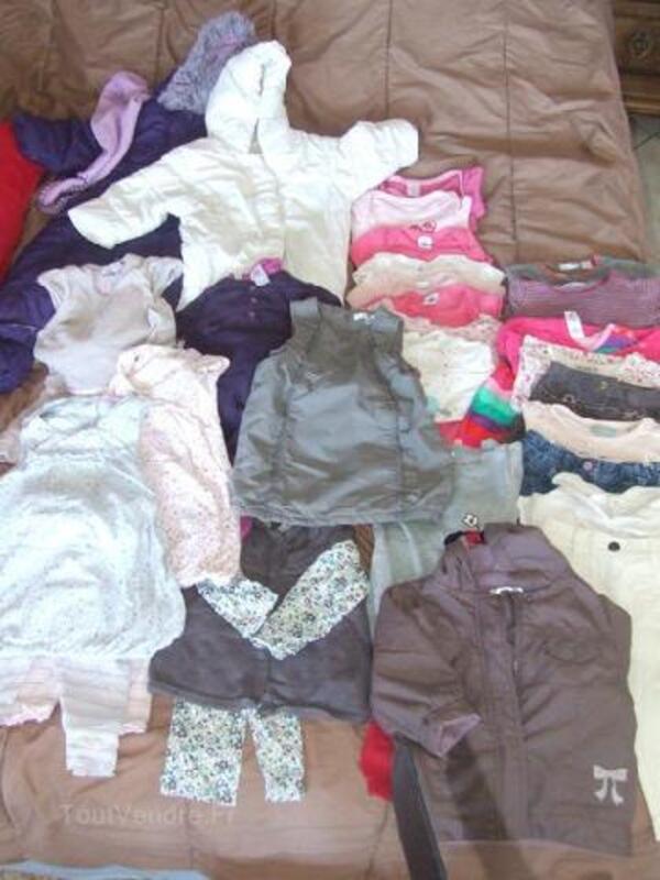 Lot 28 vêtements bébé fille 12 mois automne hiver 89804346