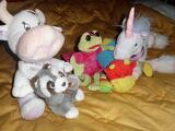 Lot 5 PELUCHES : Grenouille, 2 Vaches, Licorne...