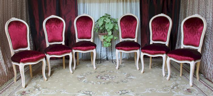 LOT 6 CHAISES CABRIOLET STYLE LOUIS XV 113197807