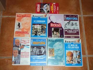 LOT 9 K7 VHS vidéo Bourvil De Funes Fernandel Ventura