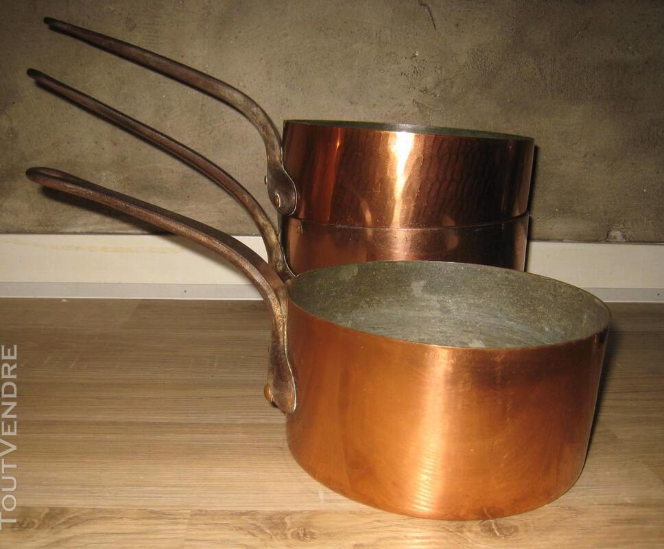 Lot de 12 cuivres anciens et modernes dont 3 casseroles 149286782