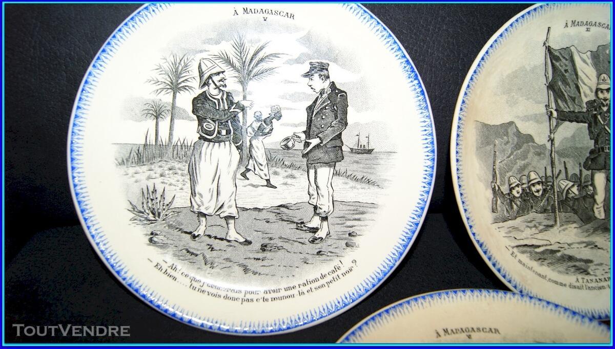Lot de 5 assiettes parlantes anciennes, Madagascar. 116396121