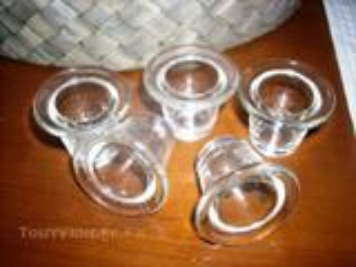 Lot de 5   encriers anciens  en verre  transparent