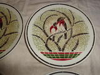 Lot de 6 assiettes K et G Lunéville décor oiseaux