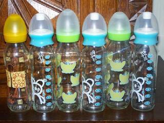 Lot de 6 biberons en verre