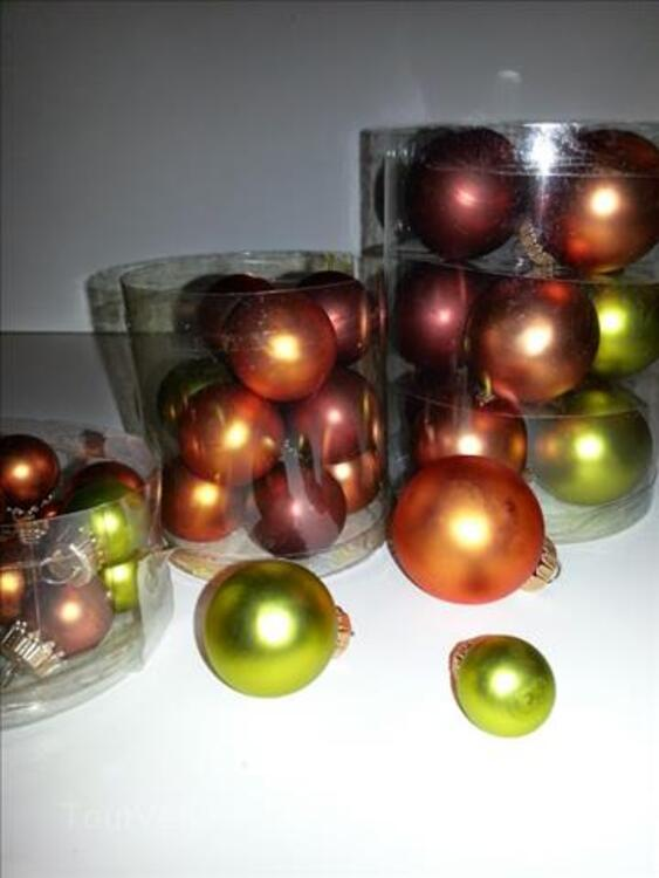 Lot de boules en verre de 2, 4, 6 cm ; de 3 couleurs chaudes 99978819
