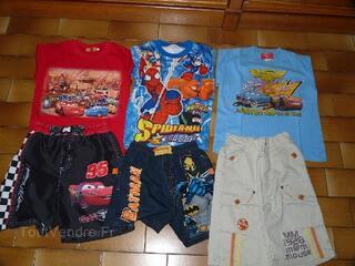Lot vêtement garçon été 6 ans, Cars, spiderman, Batman