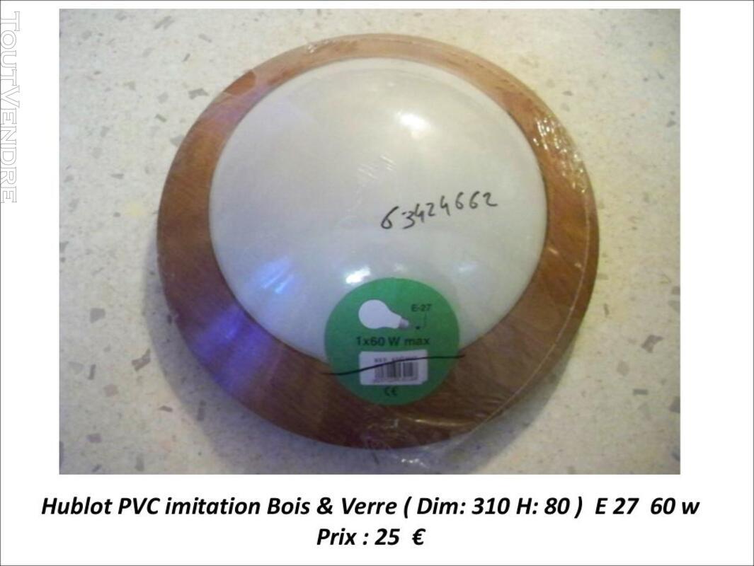 Luminaire Rond PVC imitation bois & verre 319693708