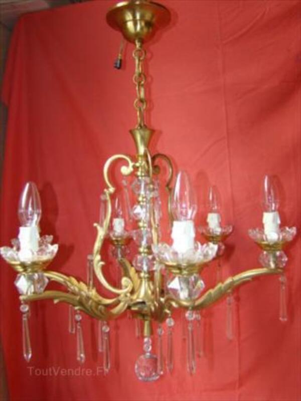Lustre à pampilles cristal 6 lampes époque début 20éme 87343113