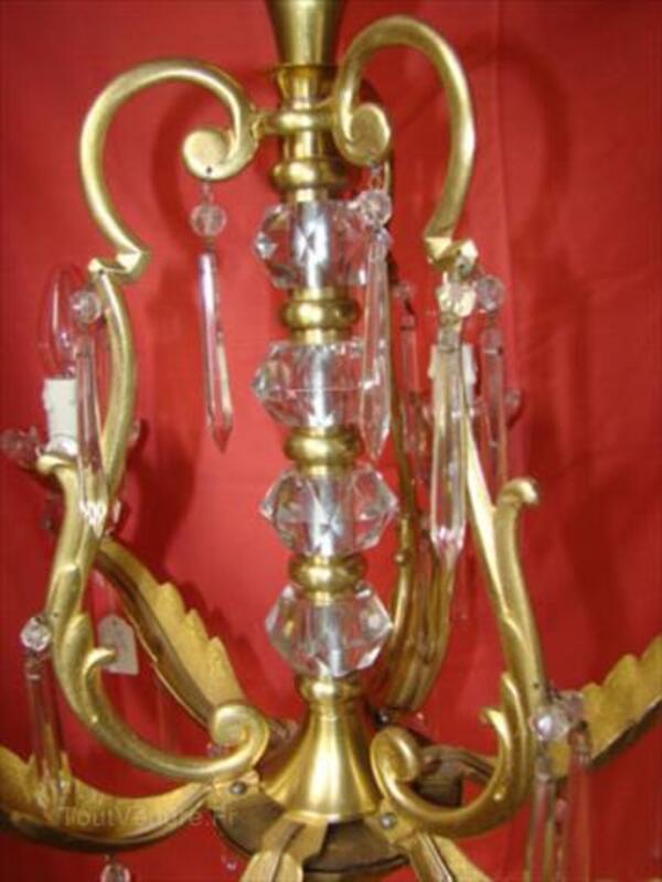 Lustre à pampilles cristal 6 lampes époque début 20éme 87343115