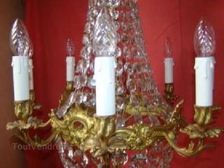 Lustre à pampilles de cristal montgolfiére 8 lampes