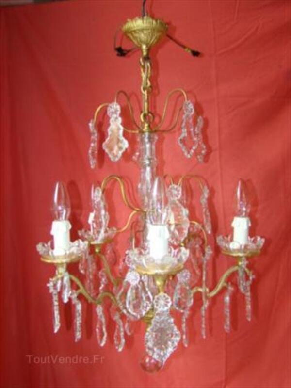 Lustre à pampilles de cristal type enfilage 5 lampes 87343078