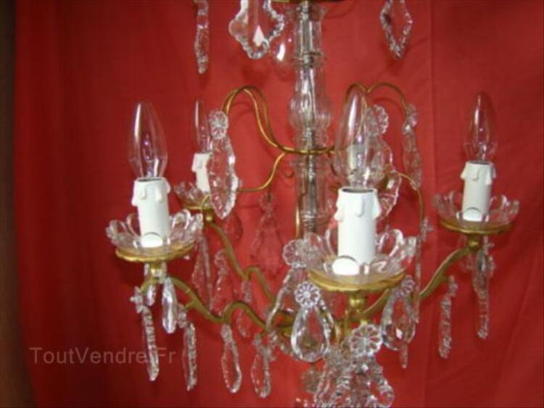 Lustre à pampilles de cristal type enfilage 5 lampes 87343079