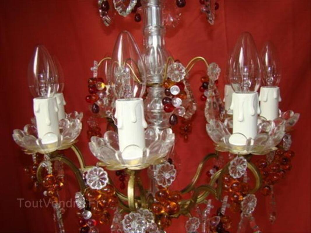 Lustre à pampilles decristal type à enfilage à 8 lampes 87346878