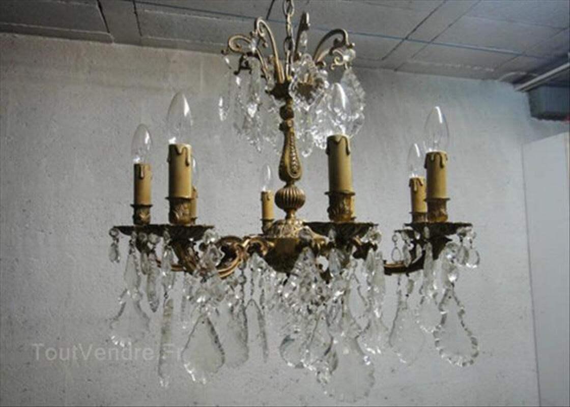 Lustre de style Louis XV en bronze à pampilles cristal 56154775
