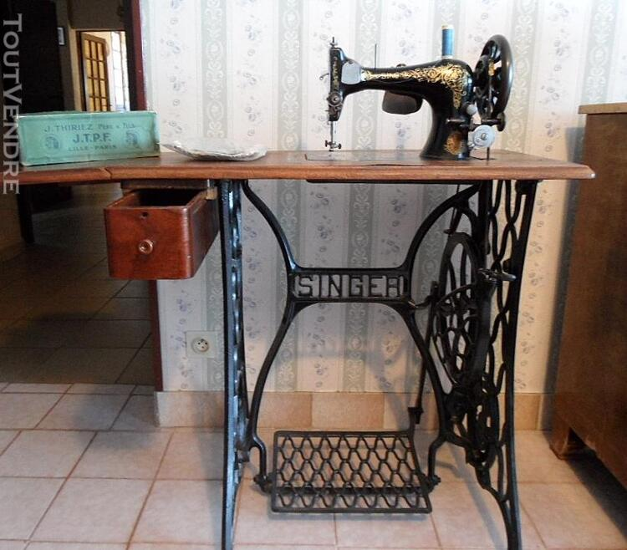 MACHINE A COUDRE ANCIENNE SINGER 1907 MODEL 27/28k +MEUBLE 141830692