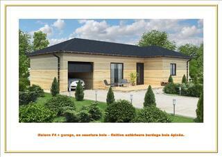 Maison F4 plp-gar, en ossature bois, sans terrain.