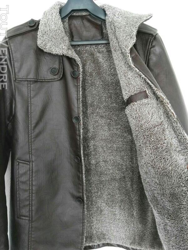 Manteau brun simili cuir 559260170