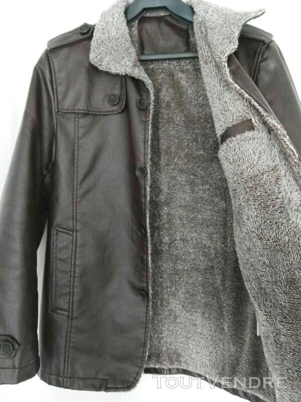 Manteau brun simili cuir 559260173