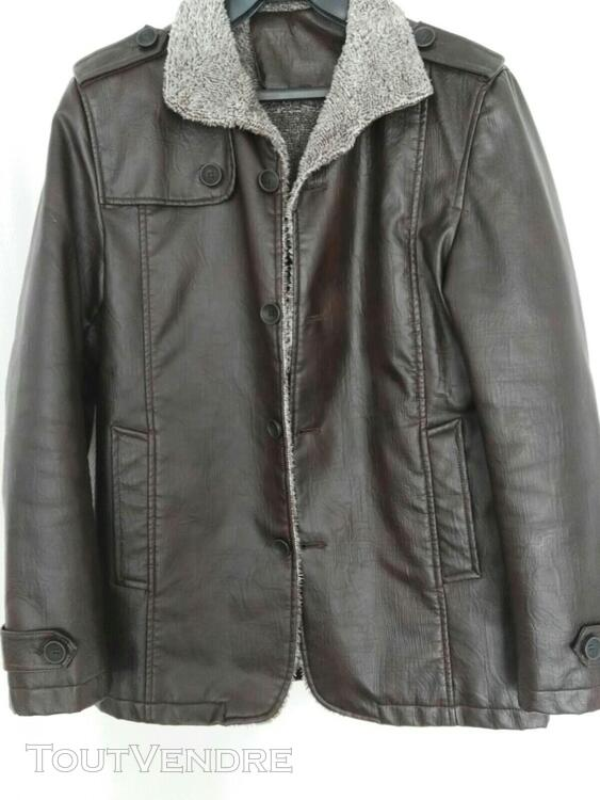 Manteau brun simili cuir 559260176