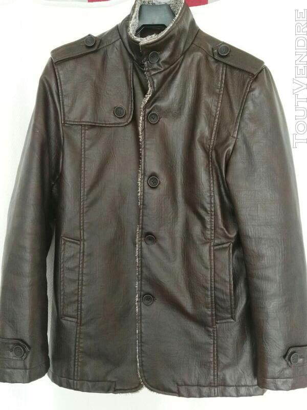 Manteau brun simili cuir 559260179