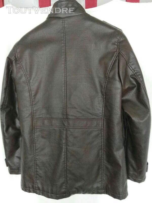 Manteau brun simili cuir 559260182