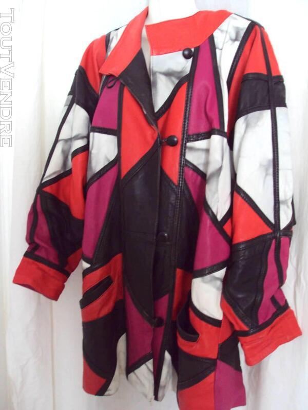 Manteau chic cuir rouge noir blanc rose 44 359500307