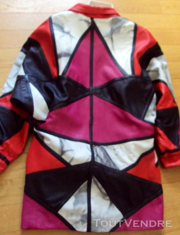 Manteau chic cuir rouge noir blanc rose 44 359500847