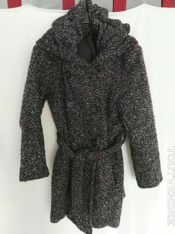 Manteau chiné avec col-capuche original 559260203