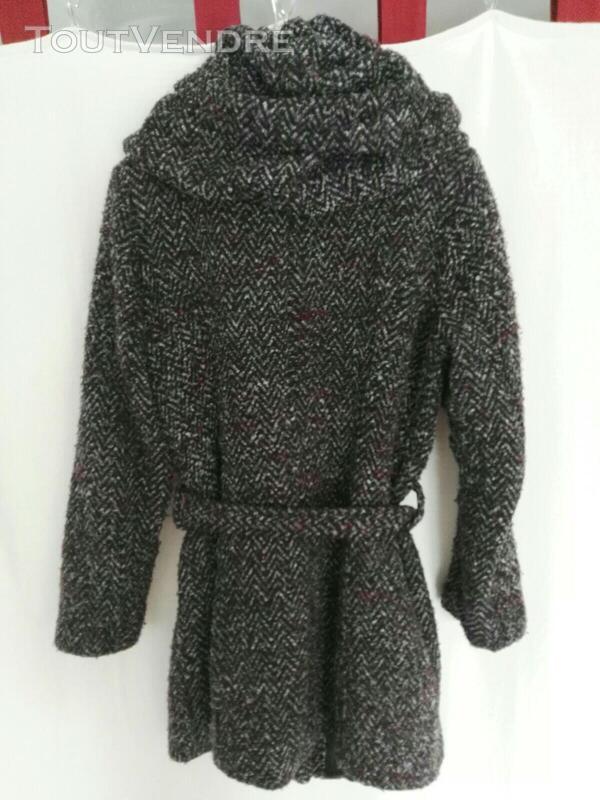 Manteau chiné avec col-capuche original 559260209
