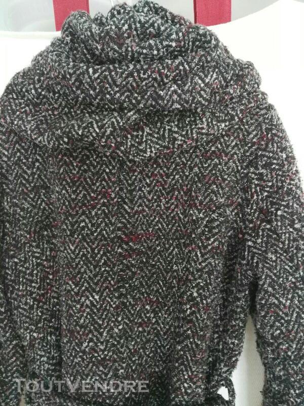 Manteau chiné avec col-capuche original 559260212
