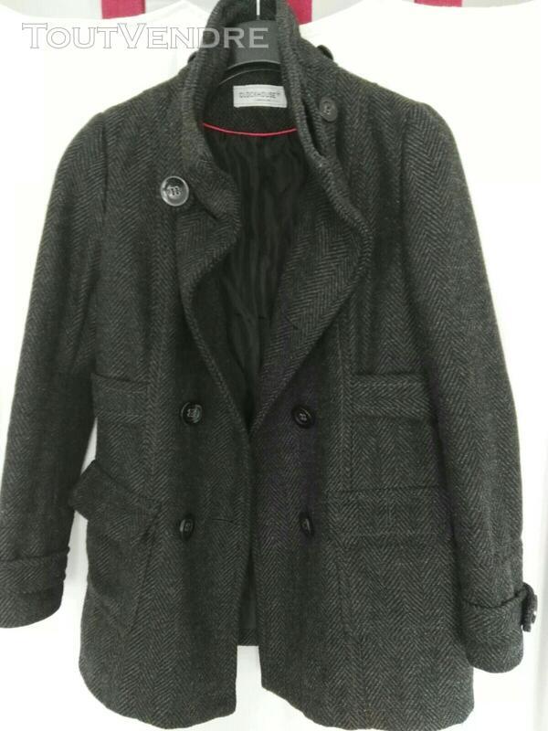 Manteau de laine gris, avec capuche déboutonnable 559260185