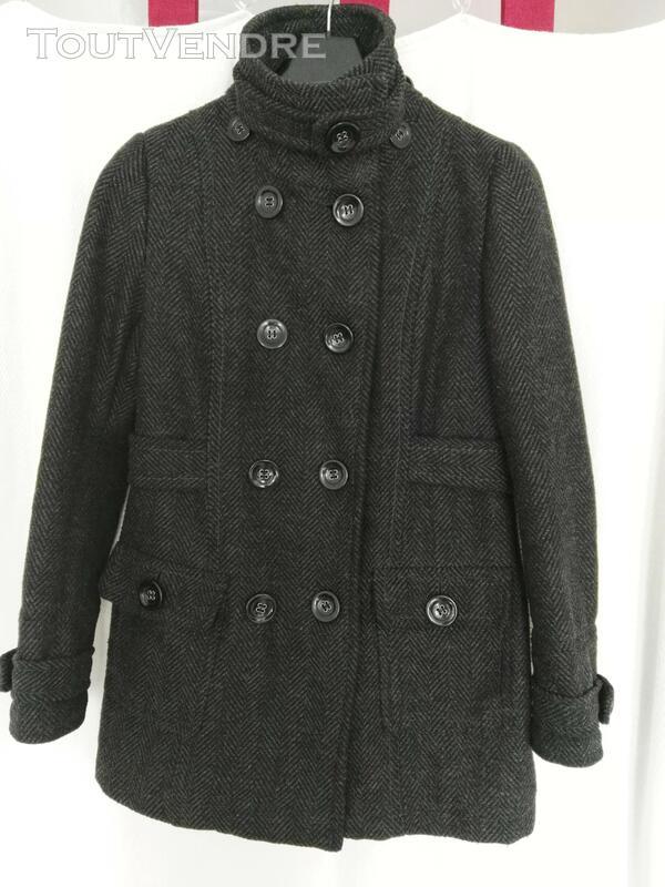 Manteau de laine gris, avec capuche déboutonnable 559260191