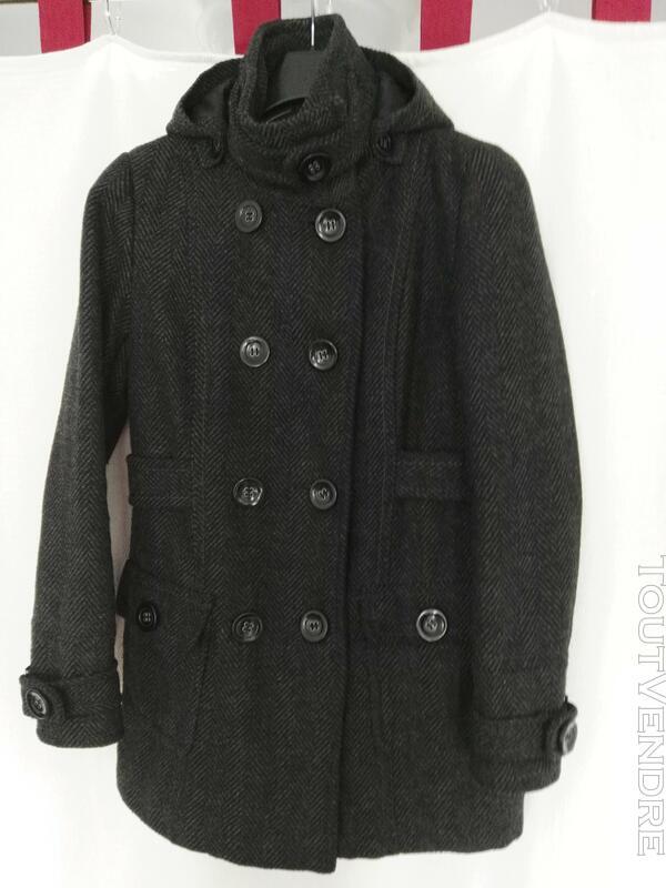 Manteau de laine gris, avec capuche déboutonnable 559260194