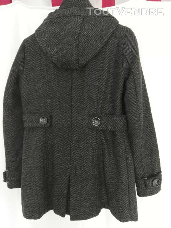 Manteau de laine gris, avec capuche déboutonnable 559260197