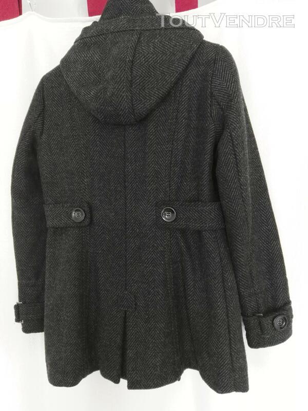 Manteau de laine gris, avec capuche déboutonnable 559260200