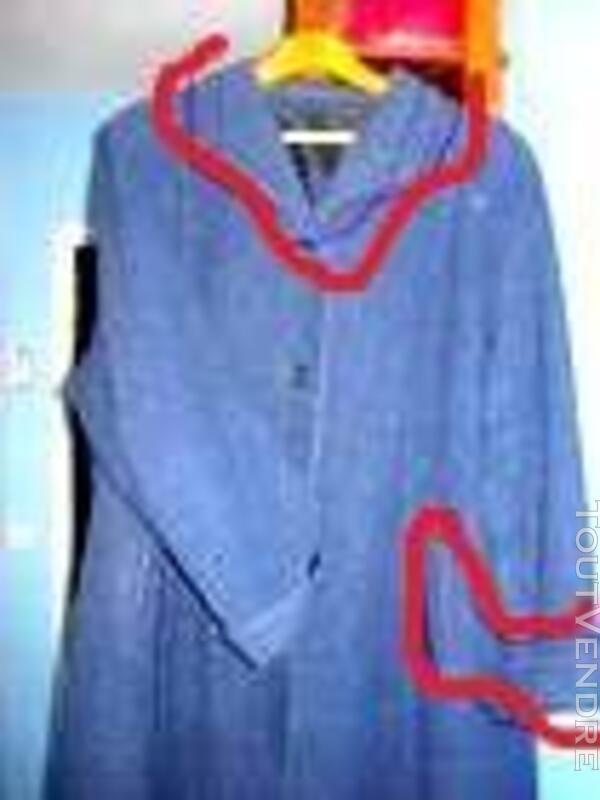 Manteau droit pour femme bleu chiné gris 533166746
