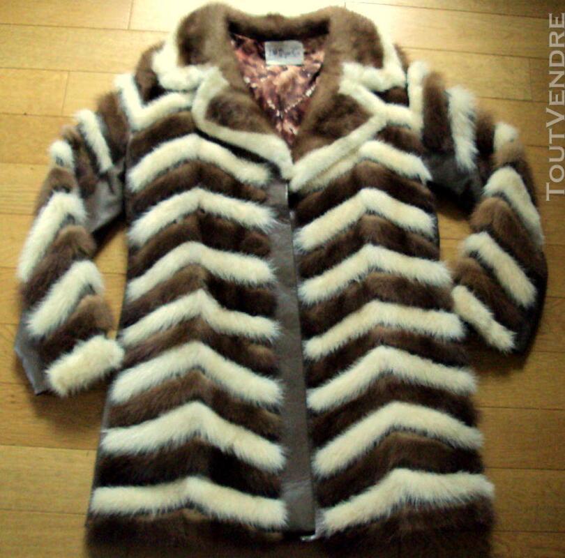 Manteau en vison brun et beige 40 194062170