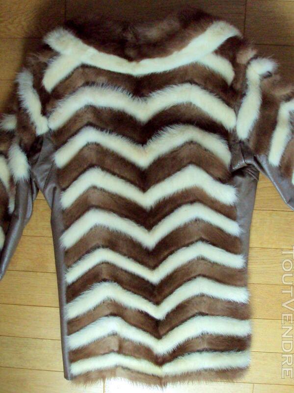 Manteau en vison brun et beige 40 194062176