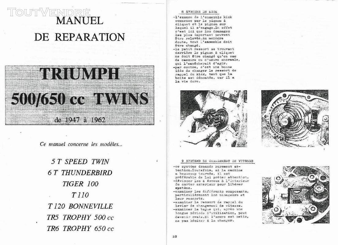 Manuel d'Atelier pour Moto Triumph en Français 720487475